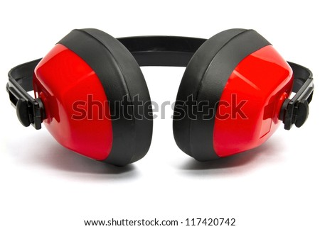 Hearing protection on white background