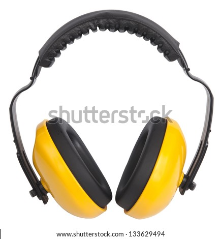 Hearing protection yellow ear muffs, with clipping paths