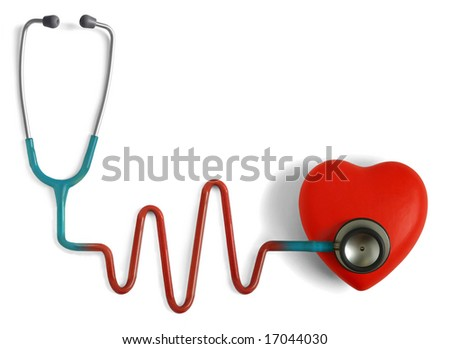 Heart and a stethoscope with heartbeat (pulse) symbol isolated in white background