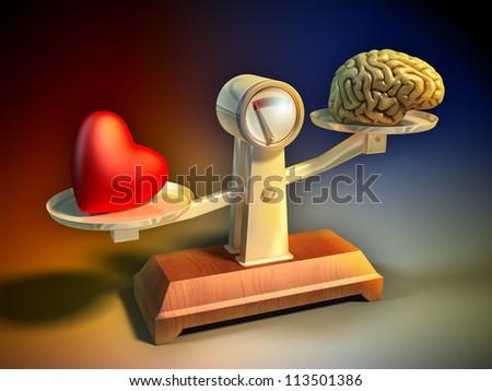 Heart and brain on a balance scale. Digital illustration.