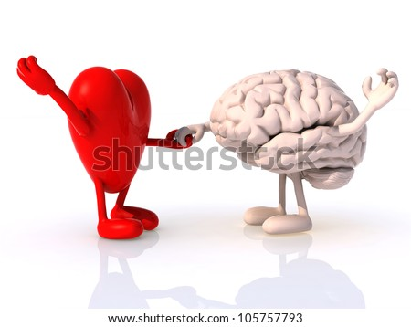 heart and brain that dance, concept of physical wellbeing - stock photo