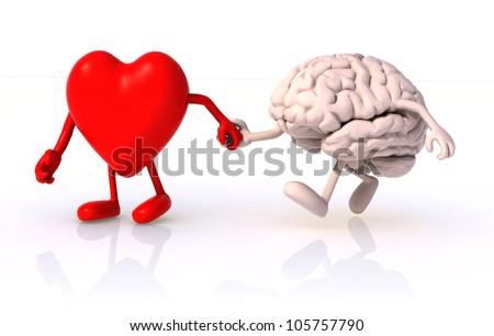 heart and brain that walk hand in hand, concept of health of walking - stock photo