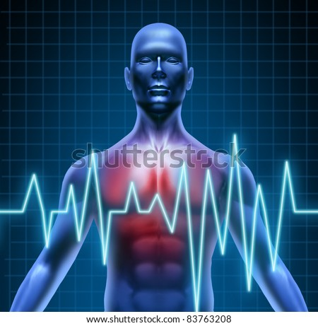 Heart and coronary disease representing the medical concept of cardiac problems stemming from human blood circulation with the heart and arteries represented by a man with a ekg monitor symbol.