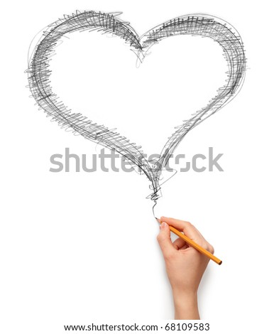 heart and hand with pencil isolated on white background