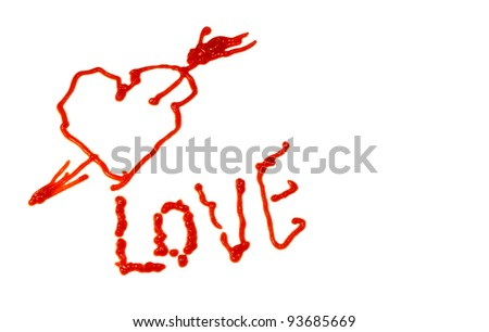 Heart and love isolated on white