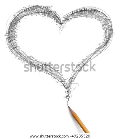 heart and pencil isolated on white background