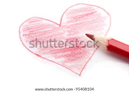 heart and red pencil