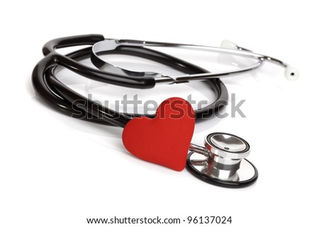 Heart and stethoscope isolated on white background