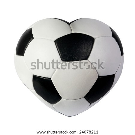 Heart as black white soccer ball on a white background, to the day of Sainted Valentine - stock photo