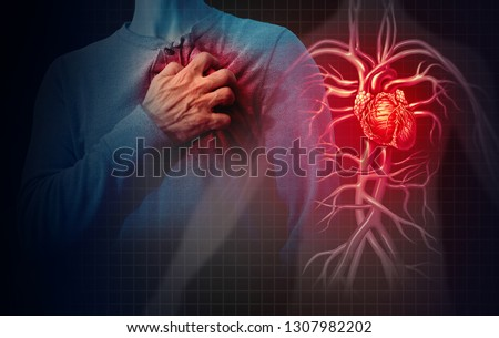 Heart attack concept and human cardiovascular pain as an anatomy medical disease concept with a person suffering from a cardiac illness as a painful coronary event with 3D illustration style elements. Stock photo ©