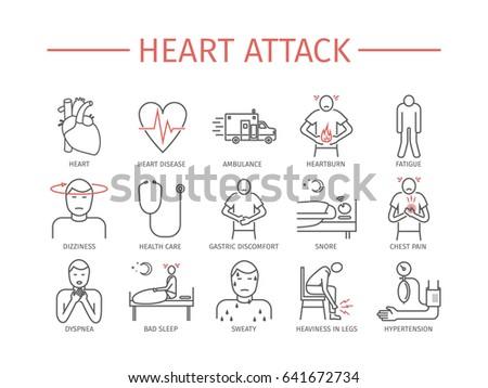 Heart Attack. Symptoms, Treatment. Line icons set.