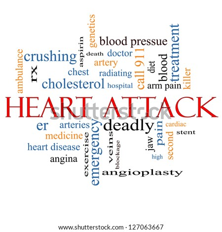 Heart Attack Word Cloud Concept with great terms such as heart disease, rx, artery, doctor and more.