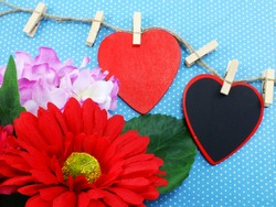 heart background valentine's day with beautiful flower bouquet
