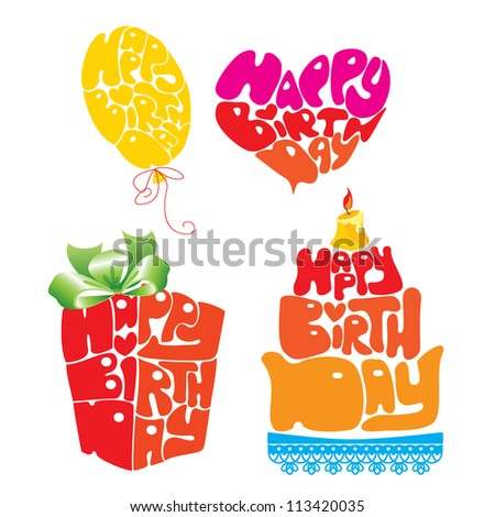 Heart, Balloon, Cake, Gift box are Formed From Happy Birthday Text - Handmade Calligraphy. Raster version