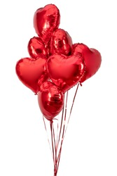 Heart Balloon. Set of red foil balloons on white background. Banner design.