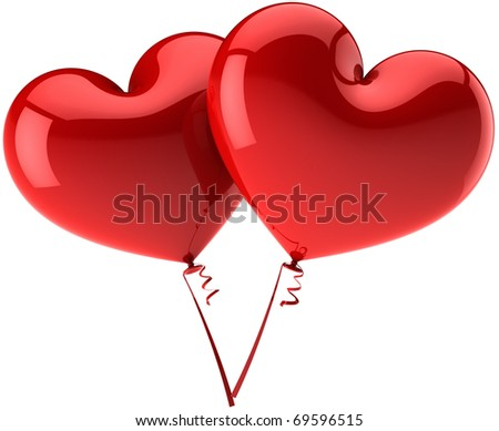 Heart balloons 2 couple in Love. Flirting relationship icon concept. Romantic party honeymoon wedding marriage decoration. Valentines Day greeting card. Detailed 3d render isolated on white background