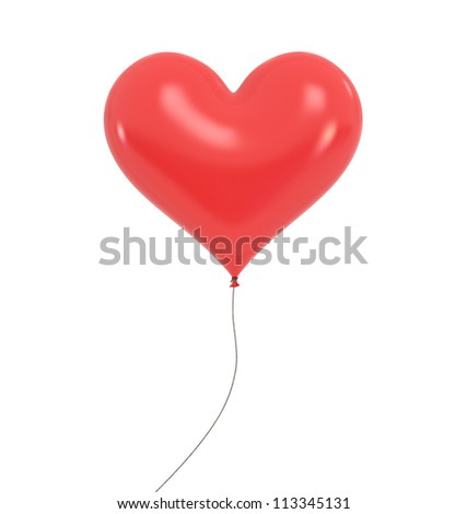 Heart Baloon - High quality Render with Clipping Path