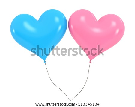 Heart Baloons - High quality Render with Clipping Path