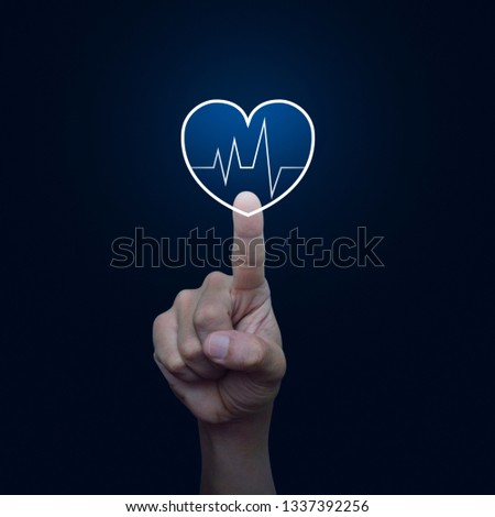 Heart beat pulse flat icon over blue gradient background, Business medical health care service concept