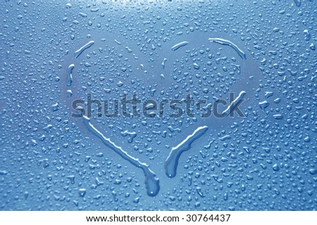 heart between water drops