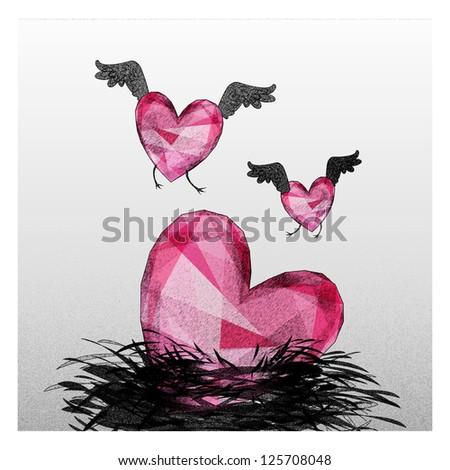 Heart birds fall in love