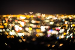 Heart Bokeh of Los Angeles at night from the top of Mulholland drive