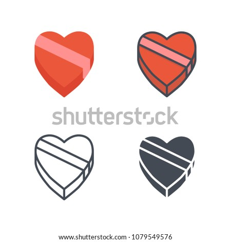 Heart box valentines day illustration icon flat line silhouette colored