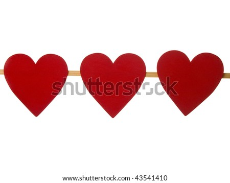 Heart brochette on pure white background