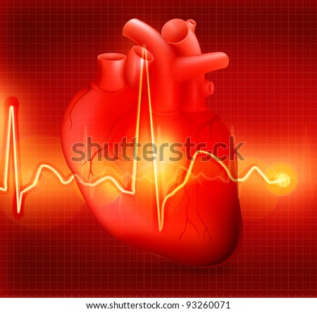 Heart cardiogram, bitmap copy - stock photo