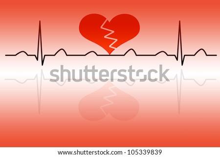 Heart cardiogram with broken heart