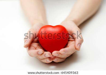 heart care, health insurance or giving love concept #645409363