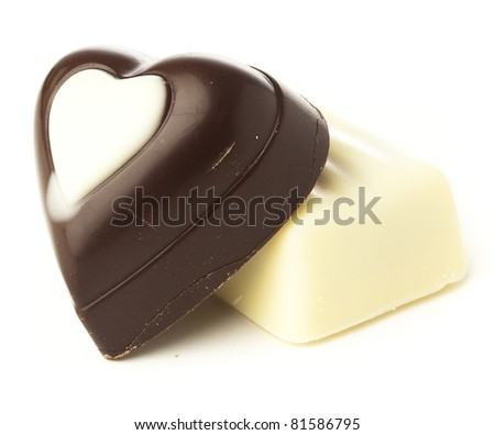 heart chocolate isolated on a white background