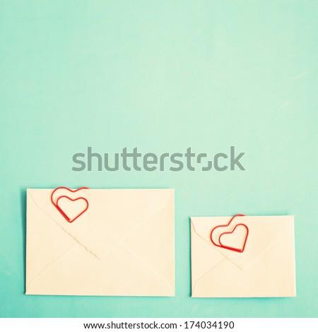 Heart clip and vintage envelopes