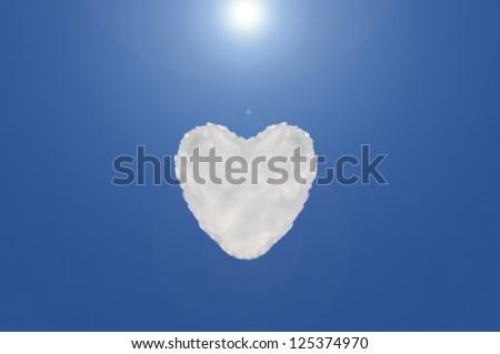 heart cloud shape on blue sky