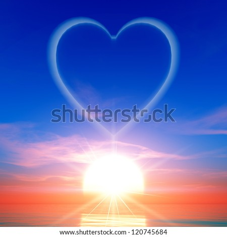 heart clouds and sunrise