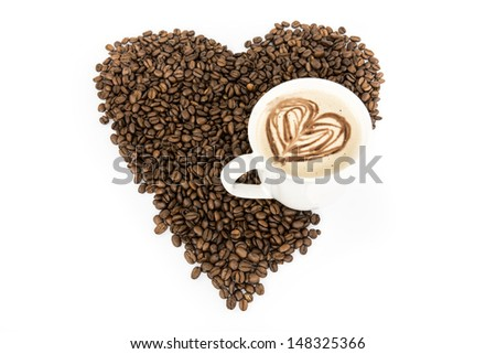 Heart coffee frame made of coffee beans on burlap texture