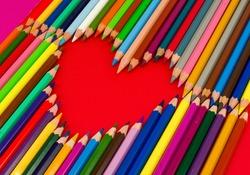 heart, color pencils