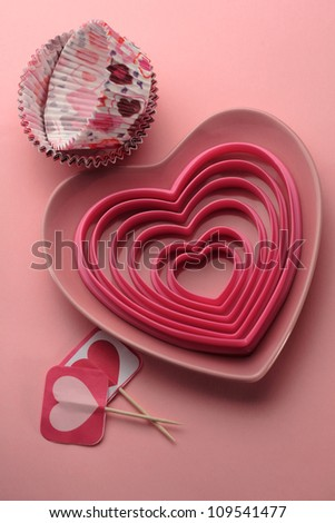 Heart cookie cutters and baking cups for cupcakes