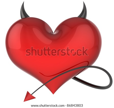 Heart devil fateful love symbol passion abstract red with sharp horns tail lover trap icon demon flirting cheater avatar concept. Valentine's Day greeting card design element blank. 3d render isolated