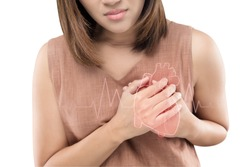Heart disease, Woman with heart problem concept