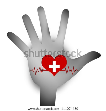 Heart Donation Concept Present By Hand With Red Heart and White Cross Over The Heart Pulse Graph  Inside Isolated on White Background
