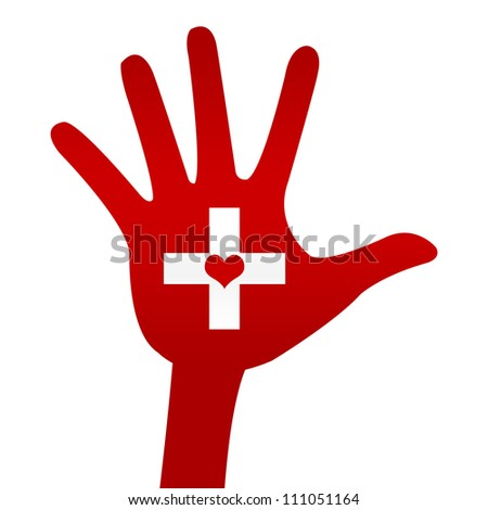 Heart Donation Concept Present By Red Hand With Cross Sign and Heart Inside Isolated On White Background