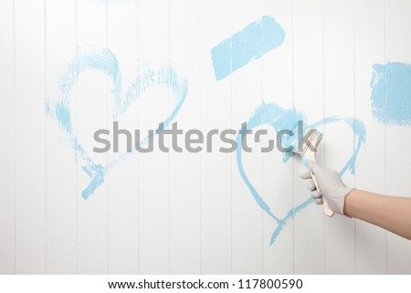 Heart drawn in blue paint