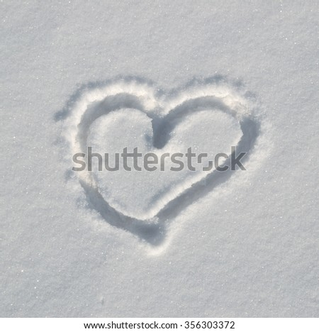 heart drawn in the snow #356303372