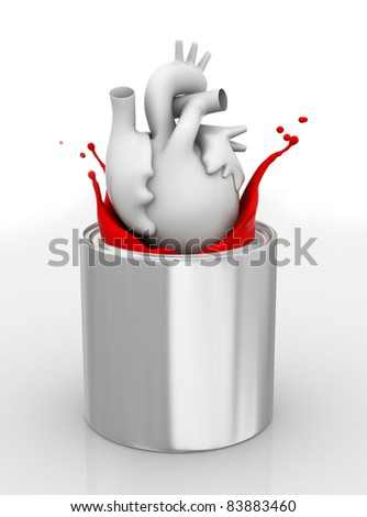 Heart drop down into paint can