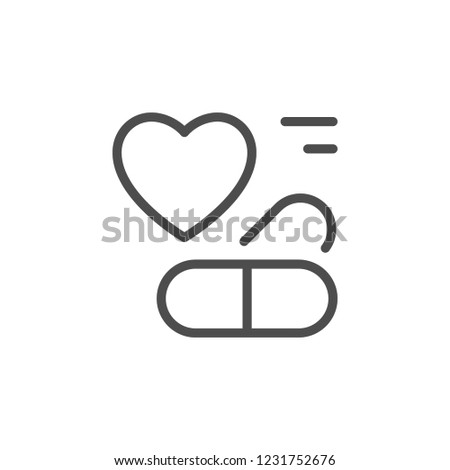Heart drug line icon isolated on white