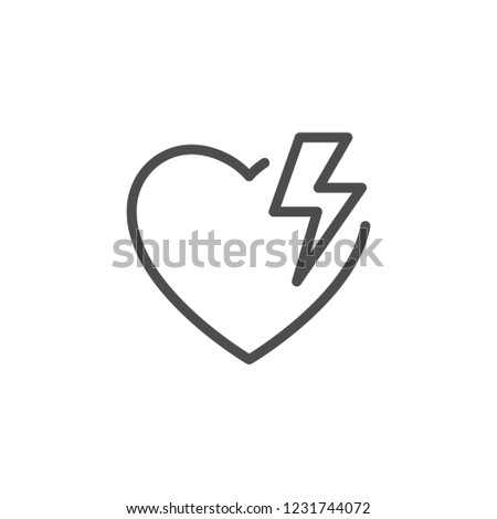 Heart energy line icon isolated on white