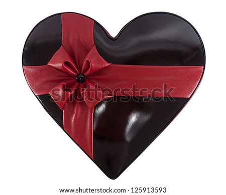 heart figure made of black and red leather isolated on white