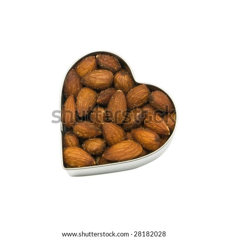 heart filled with almonds