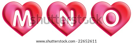 N Alphabet In Heart Heart Font - Letters - M, N & O Stock Photo 22652611 : Shutterstock